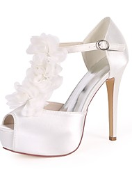 cheap -Women's Shoes Satin Spring & Summer Basic Pump Wedding Shoes Stiletto Heel Open Toe Imitation Pearl / Satin Flower / Buckle Red /