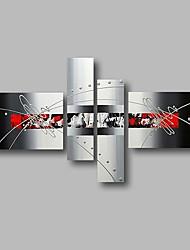 abordables -Peinture à l'huile Hang-peint Peint à la main - Abstrait Paysage Contemporain Inclure cadre intérieur / Quatre Panneaux / Toile tendue