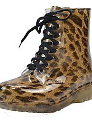 Недорогие -Жен. ПВХ Наступила зима Резиновые сапоги / Армейские ботинки Ботинки На толстом каблуке Круглый носок Ботинки Красный / Синий / Цвет-леопард
