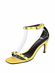 preiswerte -Damen Schuhe Leder Sommer Pumps Komfort Sandalen Stöckelabsatz für Normal Gelb Grün Rosa
