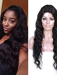 cheap -Remy Human Hair Lace Front Wig Brazilian Hair Wavy Wig 130% With Baby Hair / Soft / Middle Part Sew in Natural Women's Short / Long / Mid Length Human Hair Lace Wig / Natural Hairline