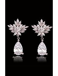 abordables -Mujer Cristal Transparente - S925 Sterling Silver Forma de Hoja, Copo de Nieve, Clover Europeo, Moda Blanco y Plateado Para Calle / Festivos