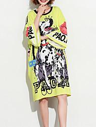 abordables -Mujer Algodón Camiseta Corte Ancho Animal