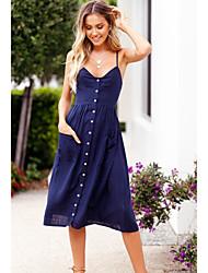 baratos -Mulheres Básico Delgado Evasê Vestido Sólido Com Alças Cintura Alta Altura dos Joelhos / Verão