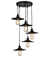 cheap -Vintage Industrial Metal Shade Cluster Chandelier 5-Head Living Room Dining Room Pendant Lamp
