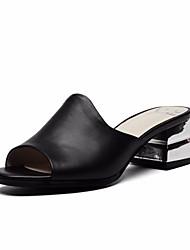 preiswerte -Damen Schuhe Leder Nappaleder Sommer Pumps Komfort Sandalen Blockabsatz für Normal Weiß Schwarz