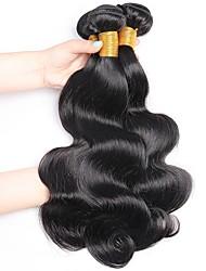 Недорогие -3 Связки Бразильские волосы Волнистый 8A Необработанные натуральные волосы Человека ткет Волосы Накладки из натуральных волос Черный Естественный цвет Ткет человеческих волос