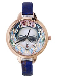 cheap -Women's Wrist Watch Quartz Creative Casual Watch Large Dial PU Band Analog Flower Casual Black / Blue / Red - Red Blue Dark Red One Year Battery Life