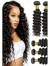 Недорогие -6 Связок Перуанские волосы Волнистый Необработанные Человека ткет Волосы / Накладки из натуральных волос Естественный цвет Ткет человеческих волос