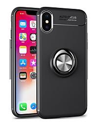 Недорогие -Кейс для Назначение Apple iPhone X / iPhone 8 Pluss / iPhone 8 Кольца-держатели Кейс на заднюю панель Однотонный Мягкий ТПУ