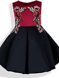 abordables -Niños Bebé Chica Negro y Rojo Floral Bloques Sin Mangas Vestido