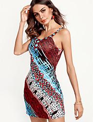 abordables -Mujer Boho Algodón Recto Vestido - Estampado, Arco iris Hasta la Rodilla Escote en Pico