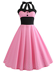 cheap -Women's Vintage Swing Dress - Polka Dot Print