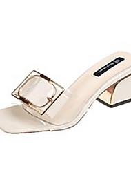 cheap -Women's Shoes PU(Polyurethane) Summer Comfort Slippers & Flip-Flops Chunky Heel Beige / Yellow