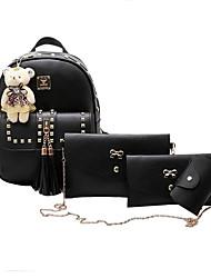 baratos -Mulheres Bolsas PU Leather Conjuntos de saco Conjunto de bolsa de 4 pcs Miçangas / Mocassim Preto / Rosa / Cinzento