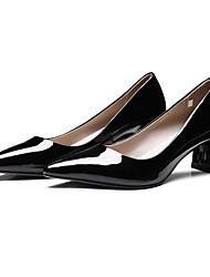 preiswerte -Damen Schuhe Leder Nappaleder Frühling Pumps Komfort High Heels Blockabsatz für Normal Schwarz Hautfarben Burgund