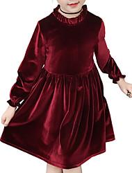 cheap -Kids Girls' Sweet Solid Colored Long Sleeve Knee-length Dress
