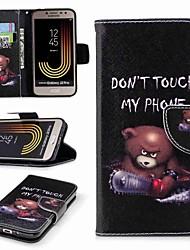Недорогие -Кейс для Назначение SSamsung Galaxy J7 (2017) J2 PRO 2018 Бумажник для карт Кошелек со стендом Флип С узором Чехол Слова / выражения