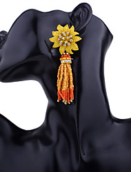 baratos -Franjas / Longas Brincos Compridos - Resina Flor Boêmio, Fashion, Boho Amarelo / Vermelho / Azul Para Festa / Noite / Diário