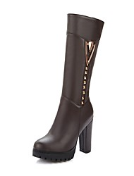 cheap -Women's Shoes Leatherette Winter Fashion Boots Boots Chunky Heel Round Toe Knee High Boots Rivet White / Black / Brown