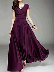 cheap -Women's Going out Slim Swing Dress - Solid Colored High Waist Maxi Deep V / Spring