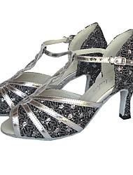 baratos -Mulheres Sapatos de Dança Latina Couro Ecológico Salto Salto Carretel Personalizável Sapatos de Dança Prateado / Vermelho / Bronze