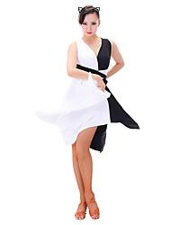 baratos -Dança Latina Vestidos Mulheres Treino Náilon Chinês / Fibra de Leite Combinação Sem Manga Vestido