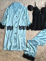 abordables -Mujer Traje Satén y Seda Ropa de dormir - Encaje, Un Color