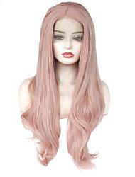 Недорогие -Синтетические кружевные передние парики Волнистый Средняя часть 150% Человека Плотность волос Искусственные волосы Жаропрочная /