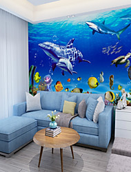Недорогие -подводный мир дельфин индивидуальные обои для стен 3d настенные обои для детских площадок рестораны дети