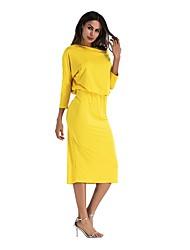 baratos -Mulheres Moda de Rua Túnicas Vestido - Franzido, Sólido Médio