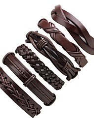cheap -Stack Leather Bracelet - Fashion Bracelet Black For Ceremony / Street / 6pcs