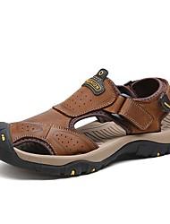 abordables -Homme Chaussures Cuir Eté Automne Bride Orteil Sandales pour Décontracté De plein air Brun claire Brun Foncé Kaki