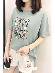 billige -Dame - Ensfarvet / Bogstaver / Dyr Trykt mønster Basale T-shirt
