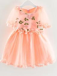 cheap -Kids Girls' Active Floral Mesh / Embroidered Short Sleeve Knee-length Dress