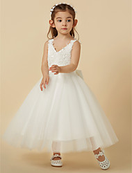 cheap -A-Line Knee Length Flower Girl Dress - Lace Tulle Sleeveless V Neck with Bow(s) by LAN TING Express