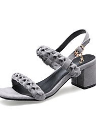 baratos -Mulheres Sapatos Pele Nobuck Verão D'Orsay / Chanel Sandálias Salto Robusto Presilha para Ao ar livre Preto / Cinzento / Khaki