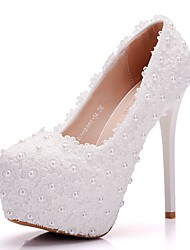 cheap -Women's Shoes PU(Polyurethane) Spring / Fall Comfort / Novelty Wedding Shoes Stiletto Heel Round Toe Pearl White