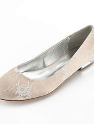 cheap -Women's Shoes Lace Summer Comfort / Ballerina Wedding Shoes Flat Heel Round Toe Sparkling Glitter Silver / Champagne / Ivory
