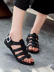Недорогие -Жен. Обувь Полиуретан Лето Силиконовая обувь Сандалии На плоской подошве Круглый носок для Повседневные Белый Черный Светло-Розовый