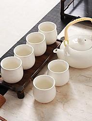 abordables -Juego de tetera de porcelana de 7 piezas a prueba de calor, 17.3 * 16.8; 7 * 7 * 6.8cm