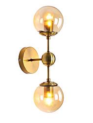 baratos -europa do norte moderno galvanizado arandela de metal 2-cabeça de vidro lâmpada de parede sala de estar sala de jantar café