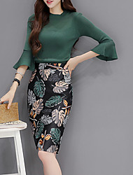 cheap -Women's Sweater - Floral Skirt Crew Neck / Flare Sleeve / Floral Patterns