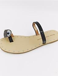 cheap -Women's Shoes PU Summer Comfort Slippers & Flip-Flops Flat Heel for Casual White Black