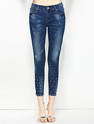 baratos -Mulheres Básico / Moda de Rua Jeans Calças - Sólido