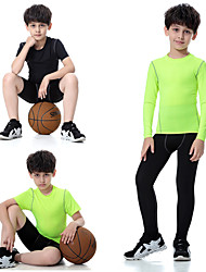 cheap -Boys' Yoga Pants With Top - Green, Rough Black, Light Green Sports Spandex Leggings / Clothing Suit Running, Fitness, Gym Short Sleeve / Long Sleeve Activewear Fast Dry, Breathable, Softness High