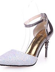 Недорогие -Жен. Обувь Полиуретан Весна лето Удобная обувь Обувь на каблуках Для прогулок На шпильке Заостренный носок Пайетки Белый / Черный / Синий