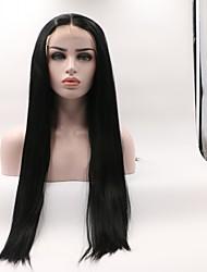 abordables -Peluca Lace Front Sintéticas Ondulado Corte a capas Pelo sintético Rizador y enderezador Negro Peluca Mujer Longitud Media Encaje Frontal / Sí