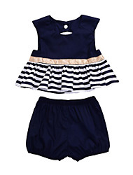 cheap -Baby Girls' Blue & White Solid Colored / Striped Sleeveless Clothing Set
