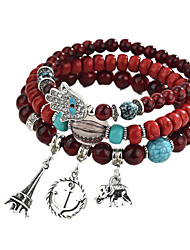 cheap -Women's 3pcs Charm Bracelet Strand Bracelet - Casual Multi Layer Lovely Elephant Circle Coffee Rainbow Red Bracelet For Daily Club